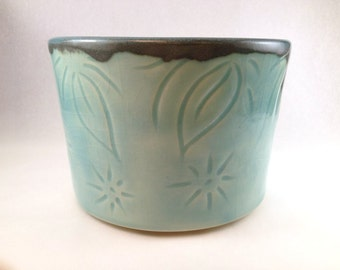 Celadon turquoise stoneware planter, cache-pot, flower pot, blue green handmade,thrown pottery, ceramics, food safe