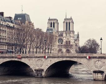 """Notre Dame Art, Paris Architecture Print, Paris Photography, Beige Art Print, Seine Bridge  - """"The Invention of Paris"""""""