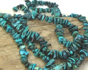 Large GenuineTurquoise Nuggets, Blue-Green Turquoise, 15 inch Strand, Large Turquoise Chips, Item 1120gst