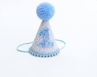 First Birthday Hat Blue | 1st Birthday | Baby birthday | White Glitter hat | photo prop smash cake hat | First Birthday party hat |