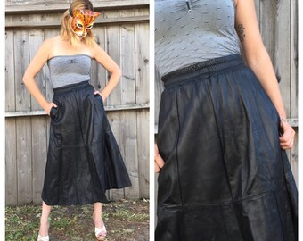Vintage 80s Full Black Leather Midi Skirt with Pockets and Elastic Waist by Saks Fifth Ave. | Small Medium