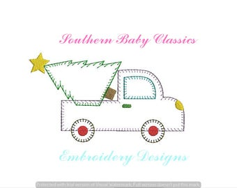 Christmas Tree Truck Vintage Applique Blanket Quick Stitch Design File for Embroidery Machine Instant Download Preppy Winter Boy