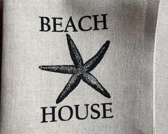Beach House Screen Printed 100% Linen Cocktail Napkins, Set of 4, Cottage Napkins
