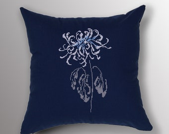 Dahlia Flower Cross Stitch Embroidered Pillow, Throw Pillow, Linen Deco Cushion, Sofa Pillow,  Linen Decorative Pillow