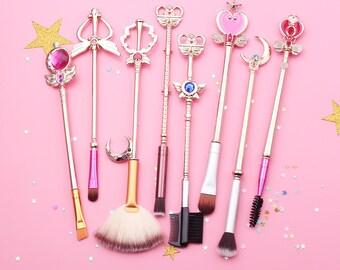 Sailor Moon Makeup Brush cosmetic brushes set Crescrent Wand pincel maquiagem Golden metal moon crystal gift for her