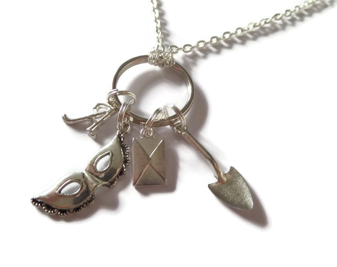 PRETTY LITTLE LIARS  A inspired 4 charm silver tone necklace fan gift tv series inspired jewellery Uk