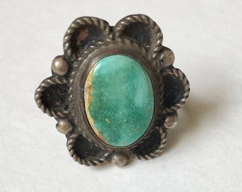 flower ring, turquoise and sterling, size 7.25