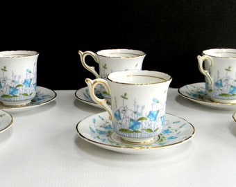 Coalport Demitasse Harebell Turquoise 3 fl oz Footed Cup & Saucer Set of 6 Made in England