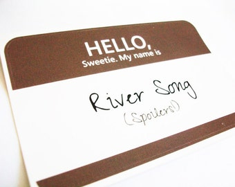River Song- Doctor Who Name Tag Sticker