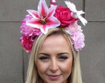 Hot Pink White Unicorn Horn Flower Headpiece Headband Fairy Womens Girls 4901