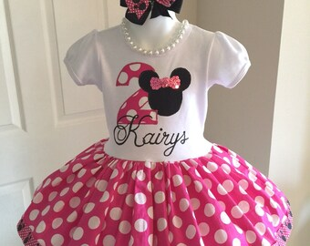 Girls Minnie Mouse Inspired Twirl Dress Birthday Custom Boutique Party All Sizes Pink White Black Polka Dots Second Third First 1st 2nd 3rd