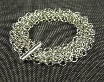 Sterling Silver Unbalanced Euro 4 in 1 Weave Chainmaille Bracelet