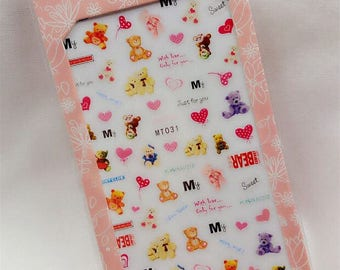 Just for you teddy bear nail decal sticker sheet x 1