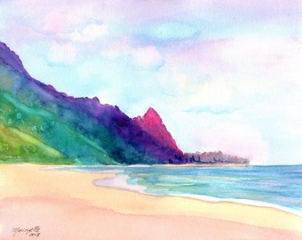 Kauai Tunnels Beach, Hawaii Art, Art Print, Watercolor Print, Kauai painting, beach art, beach paintings, Kauai watercolors, makana