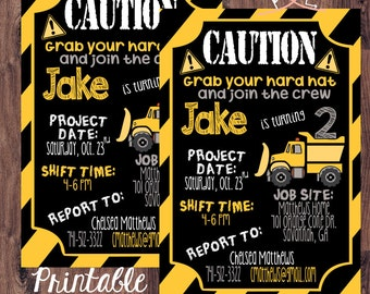 LITTLE BOYS & TRUCKS Invitation; Caution Tape Border; Yellow-Black-Grey-White; Boy's Second Birthday Party; Digital Download