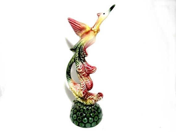 Vintage Flower Frog, Hull Pottery, Tropical Bird, Long Tail, Bird Flower Frog, 1940s