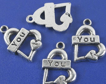 12pcs antiqued silver Lover You pendant charm G1129