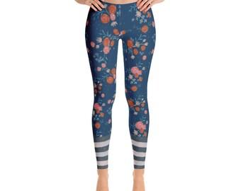Floral stripes leggings.. trendy and flattering!