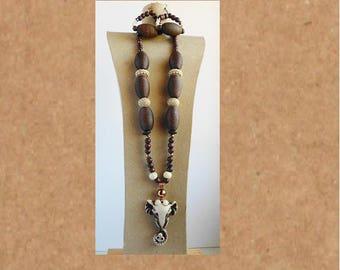 Wood, Bone and Acrylic necklace set