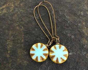 Skyblue Starburst Czech Glass Dangle Earrings \\  Blue Drops \\ Flower Earrings \\ Whimsical Earrings \\Vintaj Earrings\\gift for mom