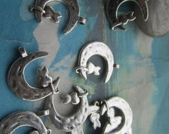 20pcs 22x18.5mm antiqued silver cat moon charms findings pendants