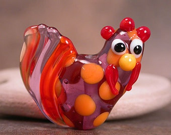 Tangerine Orange & Purple Lampwork Chicken Rooster Focal Bead Divine Spark Designs SRA