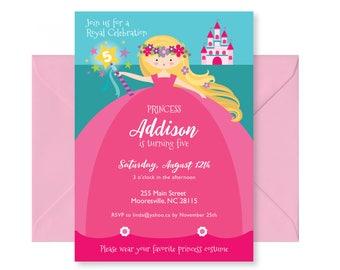 Princess Birthday Invitation, Pink Princess Invite, Printable, Customized, DIY invitation, Girl's Princess Party Invitation