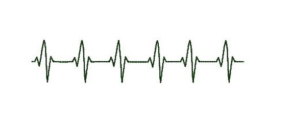EKG Heart beats machine embroidery design 4x4 hoop. Medical