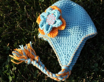 Instant Download Crochet Pattern Little Blue Earflap Hat for Baby, Infant and Toddler in 4 Sizes Photo Prop PDF