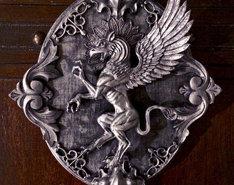 Griffin Wall Plaque, pewter finish