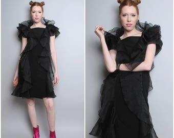 1980's Party Dress / 80's Avant Garde Club Dress / Small