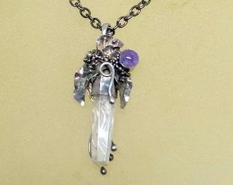 Vintage Brutalist Necklace - Sterling Silver Brutalist Necklace - Amethyst Gemstone and Crystal - Crystal Brutalist Necklace