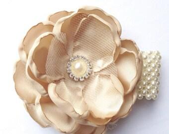 Champagne Wrist Corsage , Lace Wedding Wrist Corsage , Pearl and Rhinestone Lace Wrist Corsage
