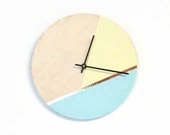 Copper Wall Clock, Pastel Sustainable Wood Decor and Wall Art
