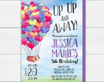 Hot Air Balloon Invitation, Up Up and Away Girl Birthday Party Invite, Party at the Park Colorful Balloons Printable Birthday Invitation