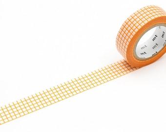 MT washi tape, orange grid, 15 mm