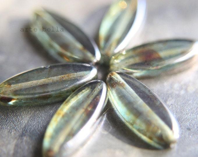 sale .. FOREST FLOOR PETALS .. 6 Picasso Czech Petal Glass Beads 20x8mm (767-6)