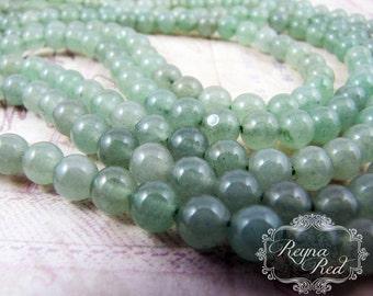 Green Aventurine Smooth Round Beads, light green gemstone, round beads, aventurine, natural gemstones, gemstone beads - reynaredsupplies