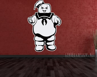 Ghostbusters Stay Puft Marshmallow Man 2 Color Vinyl Sticker.