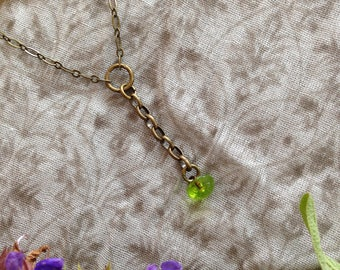 Vintage Green Drop Necklace with Antiqued Brass Chain