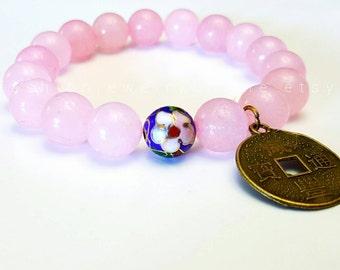 Rose quartz bracelet Chinese coin charm Pink bracelet Bohemian jewellery Healing beaded bracelet  Christmas Gifts for woman under 30