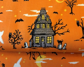 Happy Haunting Orange fabric by Riley Blake