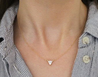 CZ Diamond Triangle Charm Necklace, Dainty Gold Necklace, Minimal Necklace, Gold Filled Chain