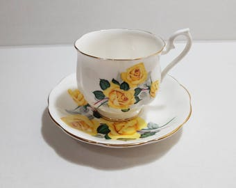 Royal Albert, Bone China, Yellow Rose Teacup and Saucer, 1960s