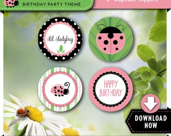 Ladybug Cupcake Toppers   Ladybug Birthday Party Cirlces   Printable   Instant Download