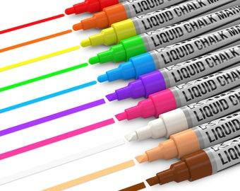 Kassa Chalk Markers for Chalkboard (10 Neon Colors) Wet Erase Blackboard Marker (Dustless & Non-Toxic) 2 Sided Tips (Bullet + Chisel)