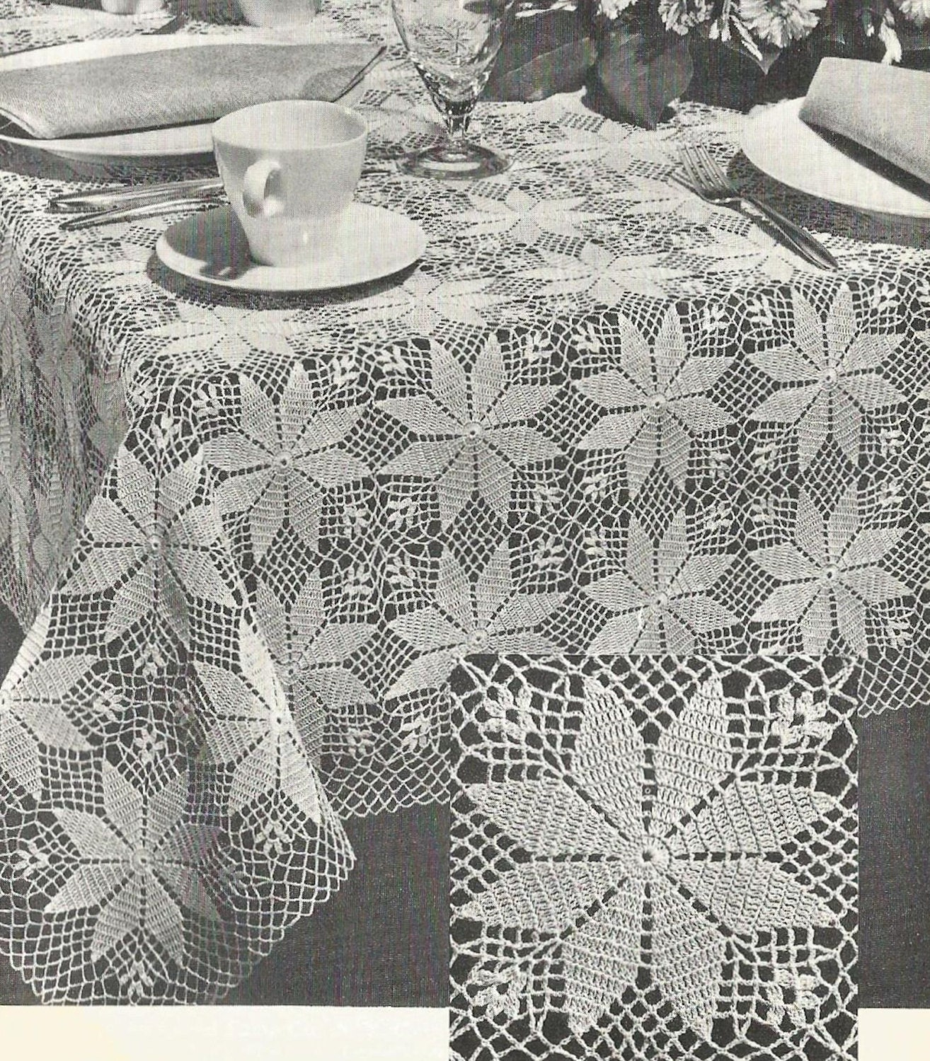 PDF Crochet Tablecloth Pattern Small Square or Large Rectangle