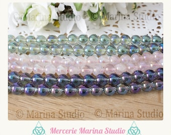 Aqua 8mm - reiki - chakra healing aura quartz beads
