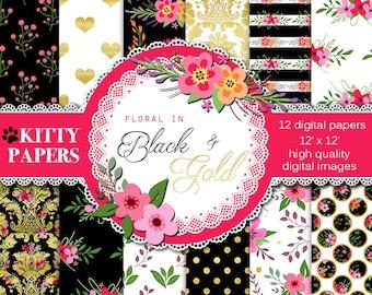 "Floral digital paper : ""Floral in Black and Gold"" flower digital paper with gold foil / gold foil digital paper / pink and black paper"