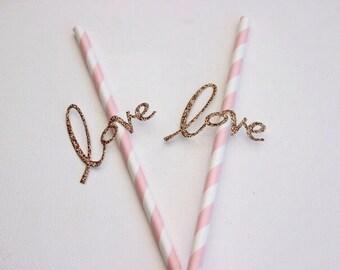Paper Straws With Love Detail. Pink Stripe Straws. Wedding - Engagement - Anniversary.